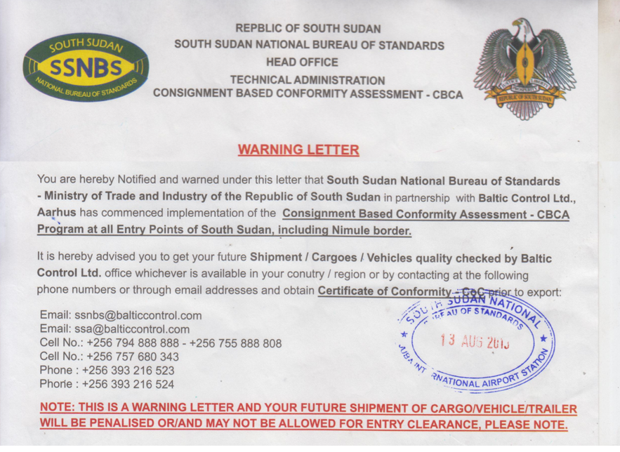 South Sudan demands Certificates of Conformity for all vehicles