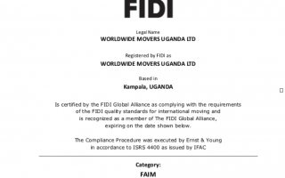 FIDI FAIM 3.1 Award for Worldwide Movers Africa Group in Uganda