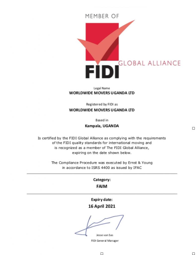 FIDI FAIM 3.1 Award for Worldwide Movers Africa Group in Uganda